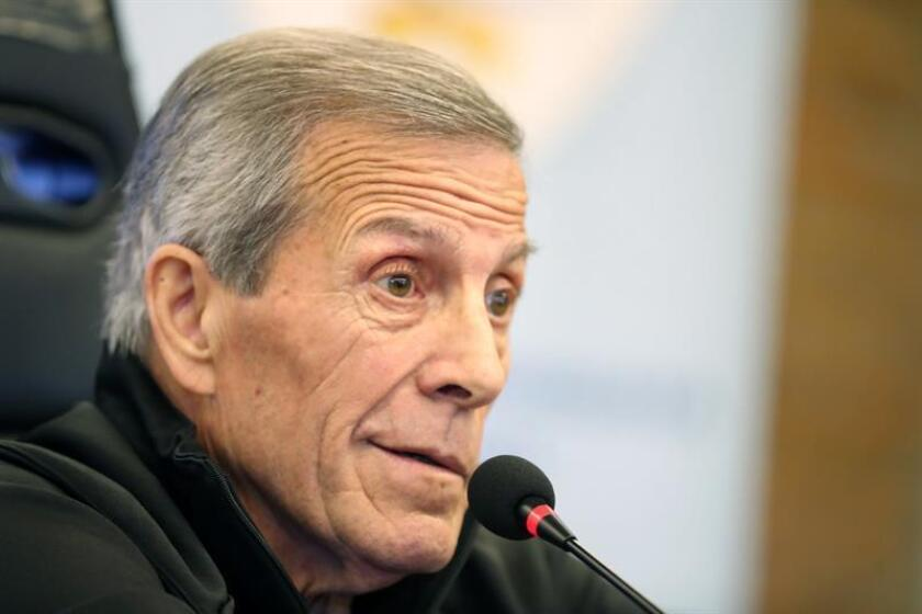 Uruguayan national soccer team coach Oscar Washington Tabarez speaks during a post-practice press conference on June 4, 2018, at the Celeste Complex outside Montevideo, Uruguay. EPA-EFE FILE/Raul Martinez