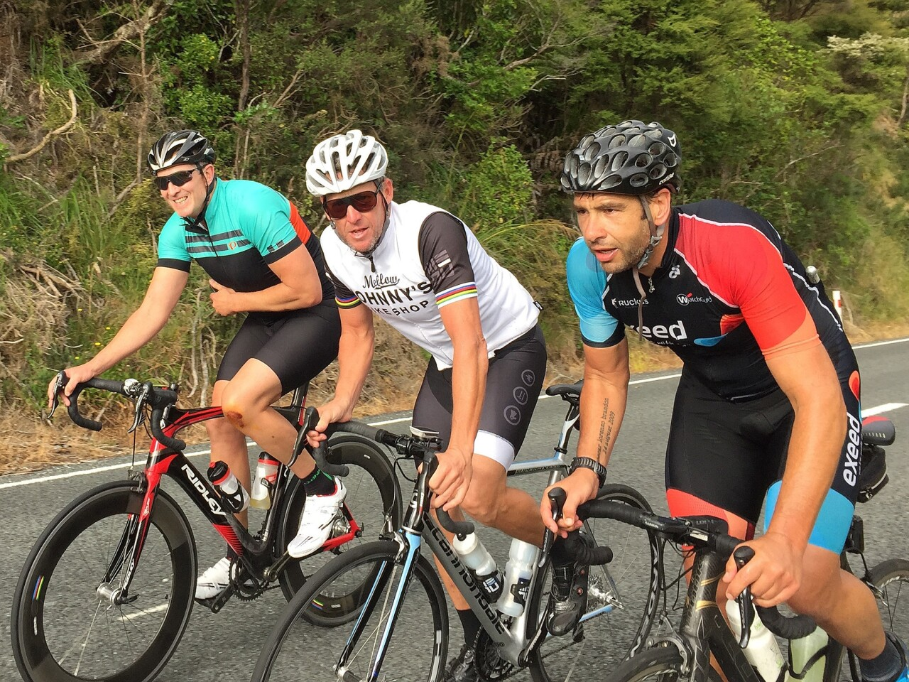 AUCKLAND, NEW ZEALAND - DECEMBER 19: Lance Armstrong (C) rides along Scenic Drive with local cyclists during a ride in Auckland's Waitakere Ranges on December 19, 2016 in Auckland, New Zealand. (Photo by Phil Walter/Getty Images) ** OUTS - ELSENT, FPG, CM - OUTS * NM, PH, VA if sourced by CT, LA or MoD **