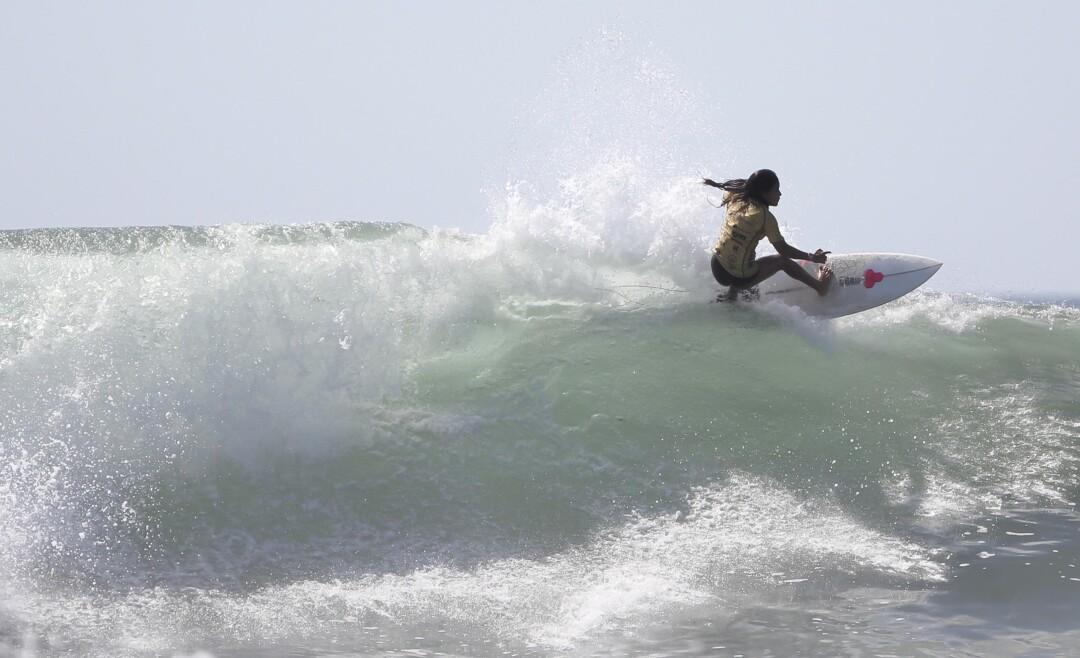 Katherine Díaz surfing off La Libertad, El Salvador.