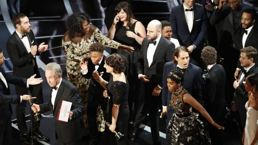 HOLLYWOOD, CA - February 26, 2017 MOONLIGHT WON BEST PICTURE WHEN WARREN BEATTY ANNOUNCED THE WORN