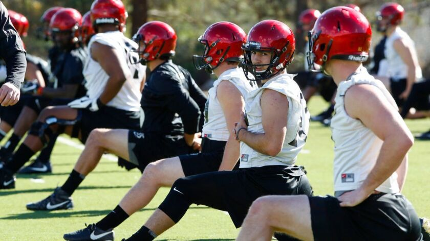 San Diego State players stretch during a spring practcie at the former Chargers Psrk.