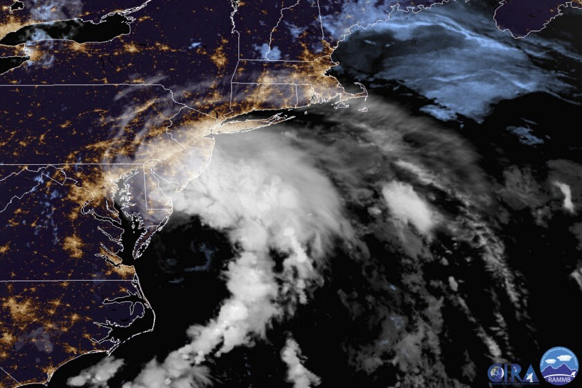 Satellite image of Tropical Storm Fay