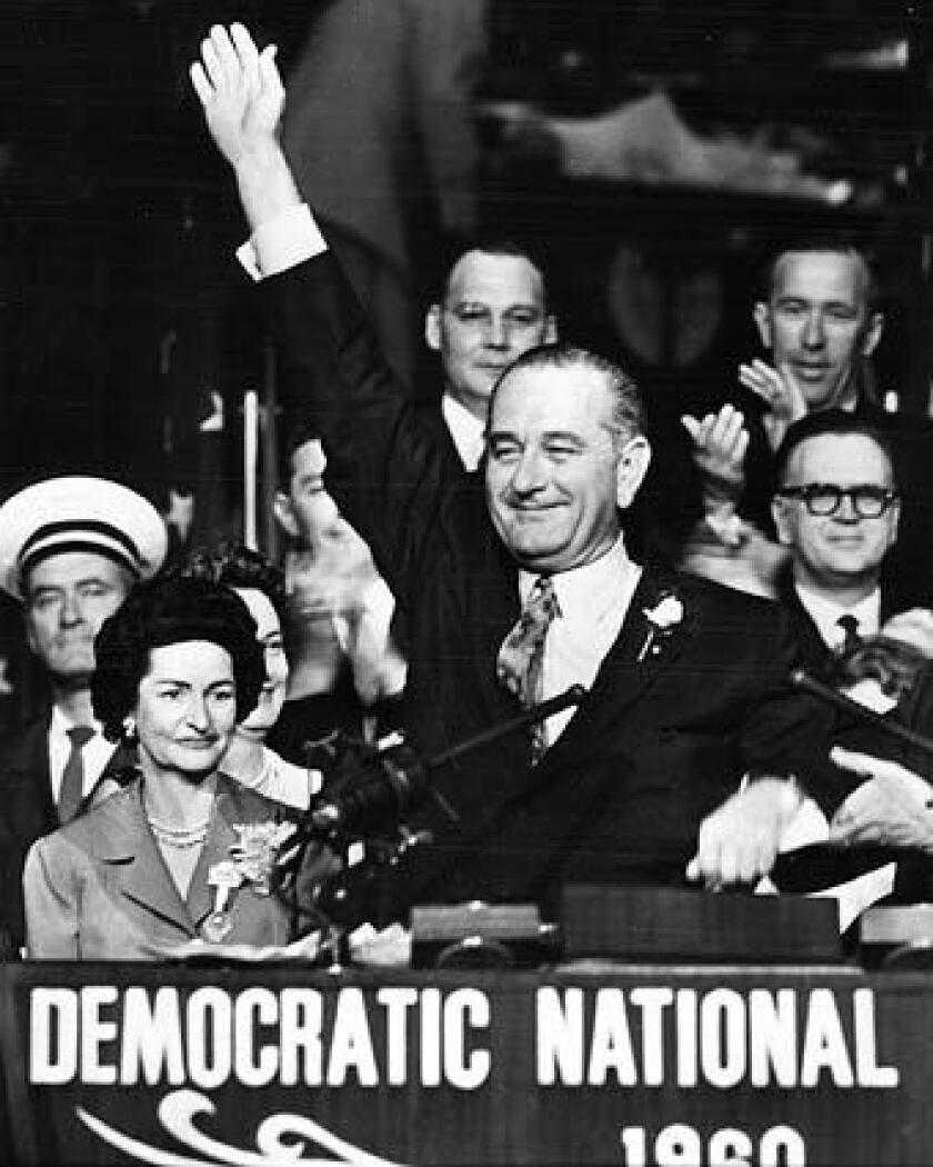 Lady Bird and Lyndon B. Johnson attend the Democratic National Convention in Los Angeles in 1960.