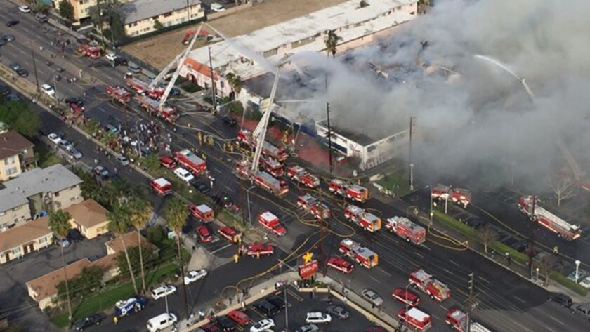 Fire at Van Nuys hotel