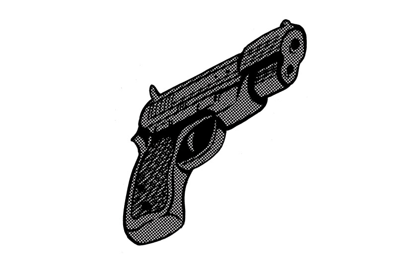 Graphic novel illustrations of a handgun
