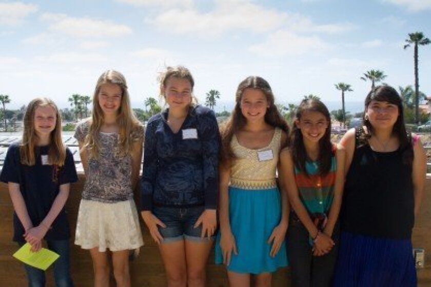 (L-R) Grace Wesson (Carmel Valley), Carolyn Knapp and Olivia How (Earl Warren), and Daniella Lumkong, Valerie Zerfas, and Magdely Benitez (Oak Crest).