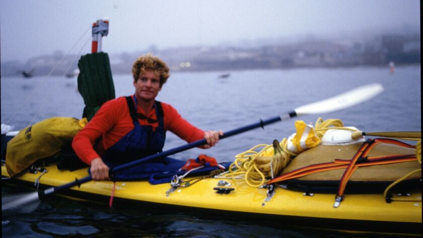 A photograph taken of Ed Gillet on June 25, 1987, as he set out from Monterey Bay on his solo sea kayak crossing to Hawaii, which took 64 days.