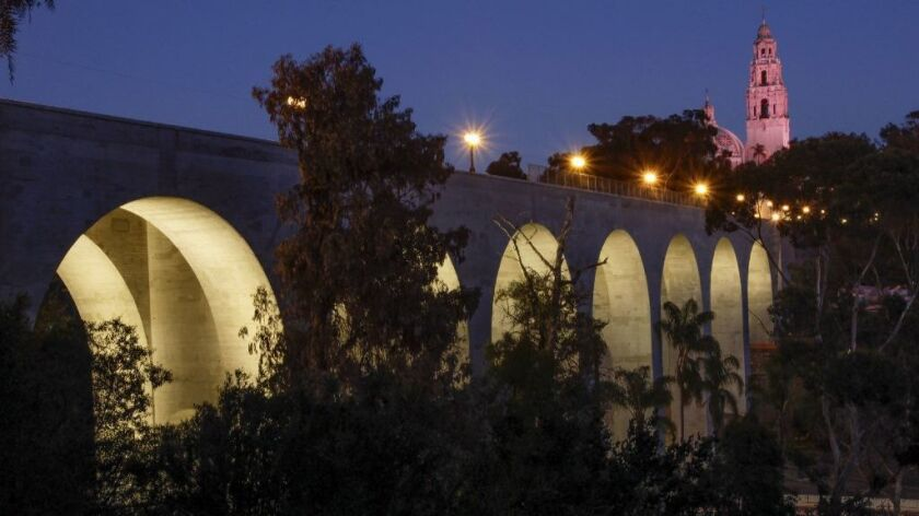 The arches of the Cabrillo Bridge, which spans over State Route 163 to Balboa Park.