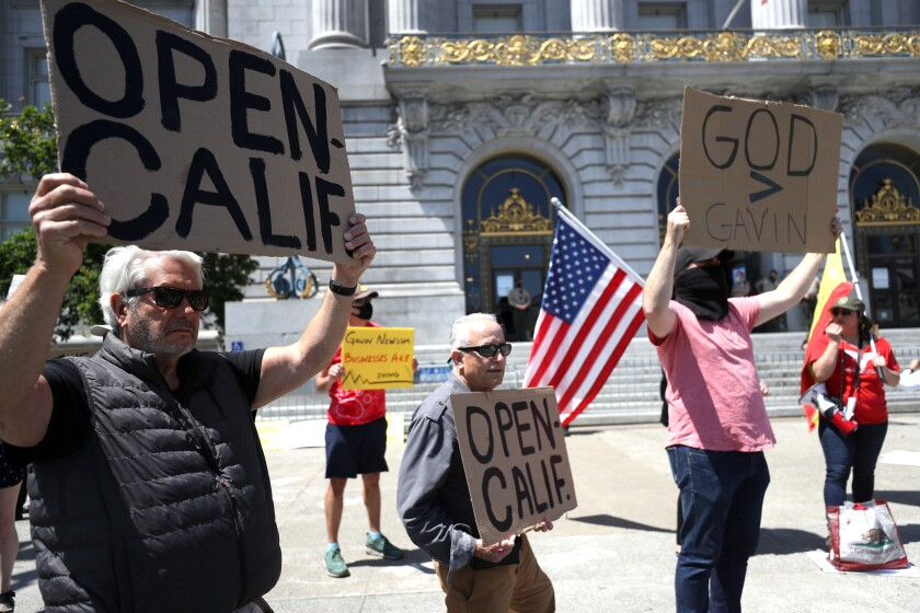 Protesters rally in San Francisco against statewide stay-at-home order