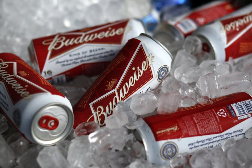 Budweiser beer is for sale at a concession stand at McKechnie Field in Bradenton, Fla.