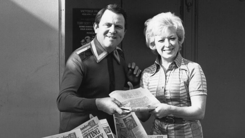 Terry Scott and June Whitfield, famous as a married couple in television comedy 'Terry And June', seen here teaming up for a new farce at London's Victoria Palace called 'A Bedful of Foreigners'.