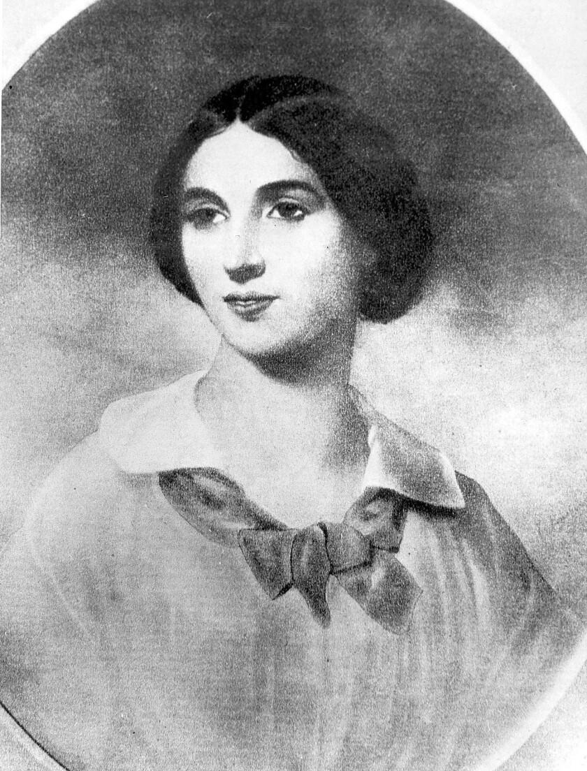 "A 1856 portrait of Jessie Benton Fremont, wife of ""Pathfinder"" John C. Fremont. She was instrumental in preserving wilderness in California."