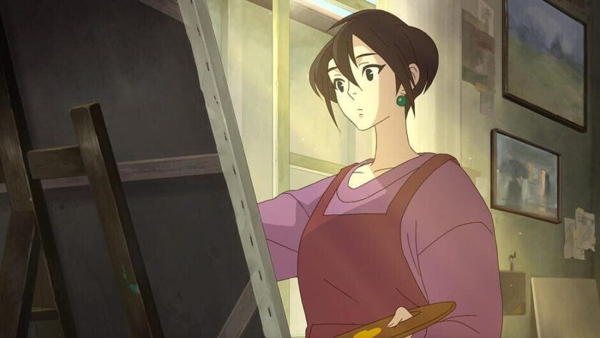 """Amber, the main character of """"Behind the Frame,"""" paints a picture in her art-filled apartment."""