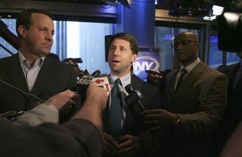 Jeff Wilpon, COO of the New York Mets and executive vice president of Sterling Equities, speaks to reporters during a baseball news conference, Tuesday, Feb. 3, 2009 in New York. Pitcher Oliver Perez and the Mets finalized a $36 million, three-year contract on Tuesday. (AP Photo/Mary Altaffer)