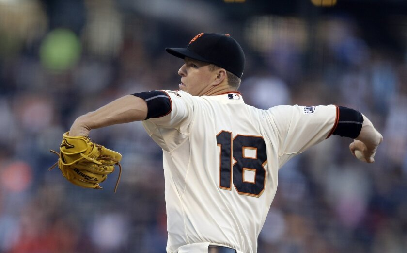San Francisco Giants pitcher Matt Cain works against the New York Mets in the first inning of a baseball game Tuesday, July 7, 2015, in San Francisco. (AP Photo/Ben Margot)