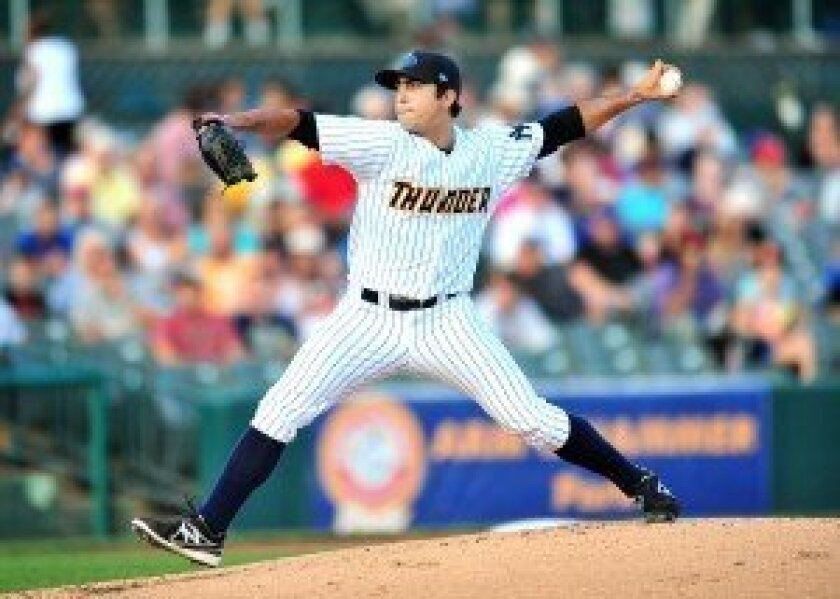 'It's not fun getting beat up on the mound, but I'm learning a lot from it and that's the big thing,' says Daniel Camarena. Photo by Dave Schofield/Trenton Thunder.