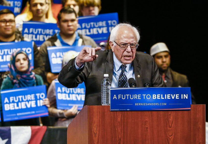 Bernie Sanders speaks at a campaign event in Dearborn, Mich., on March 7.