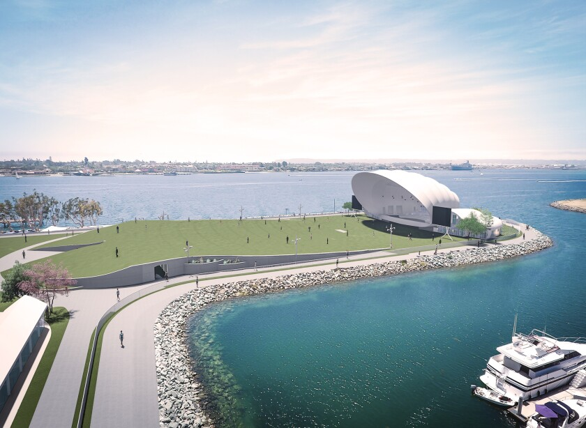 The 3.68 acre venue is at the north end of Embarcadero Marina Park South, and includes a permanent stage, a turf lawn for temporary seating and two pavilions.