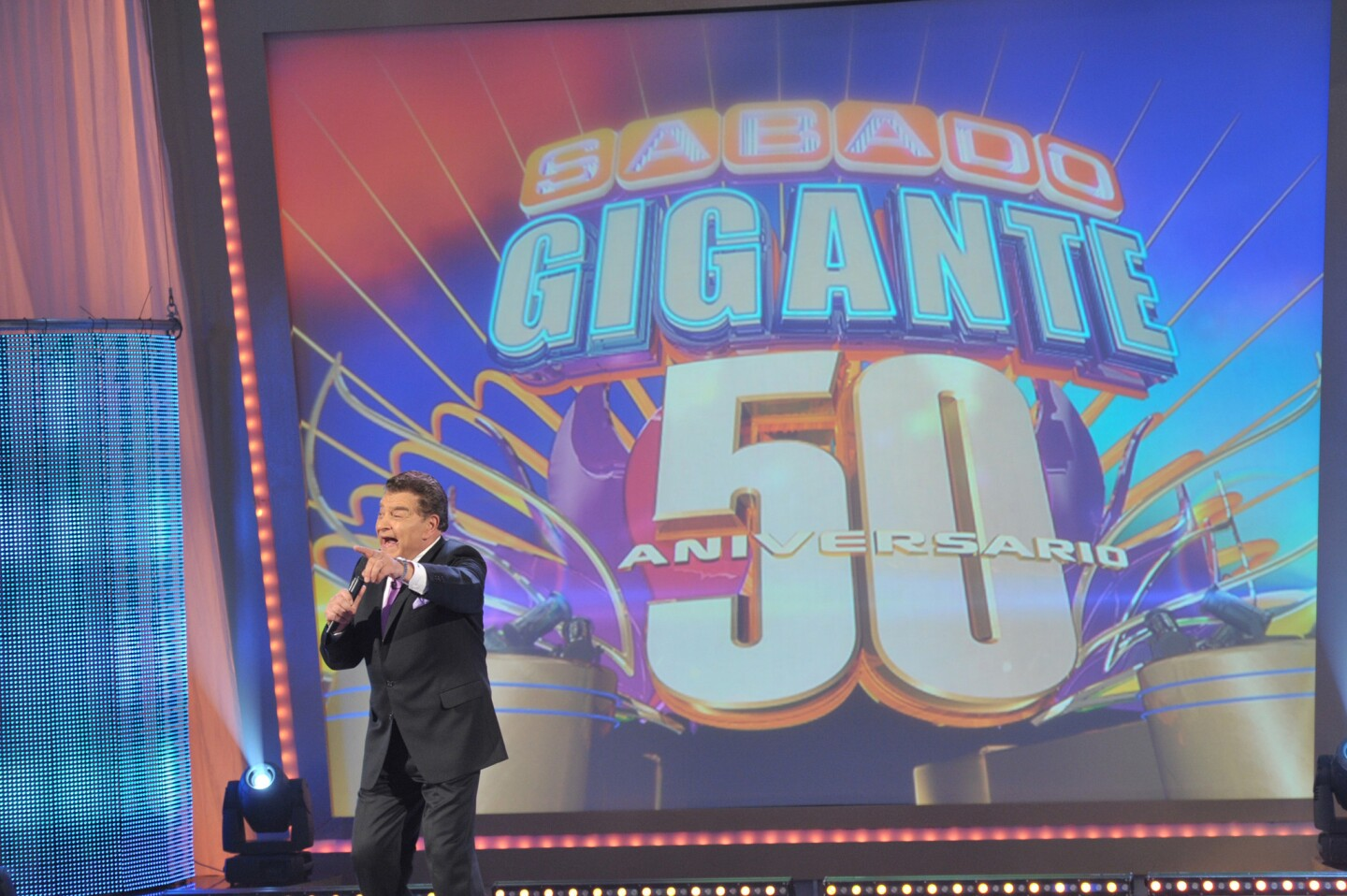 """The longest-running variety show in TV history is """"Sabado Gigante."""" The show, a collection of celebrities, contests, bikini-clad senoritas and little people in wrestler costumes, is led by its Chile-born ringleader Don Francisco, shown. He has hosted the Spanish-language show (which translates to """"Giant Saturday"""") since 1962, clocking in more than 2,600 episodes."""