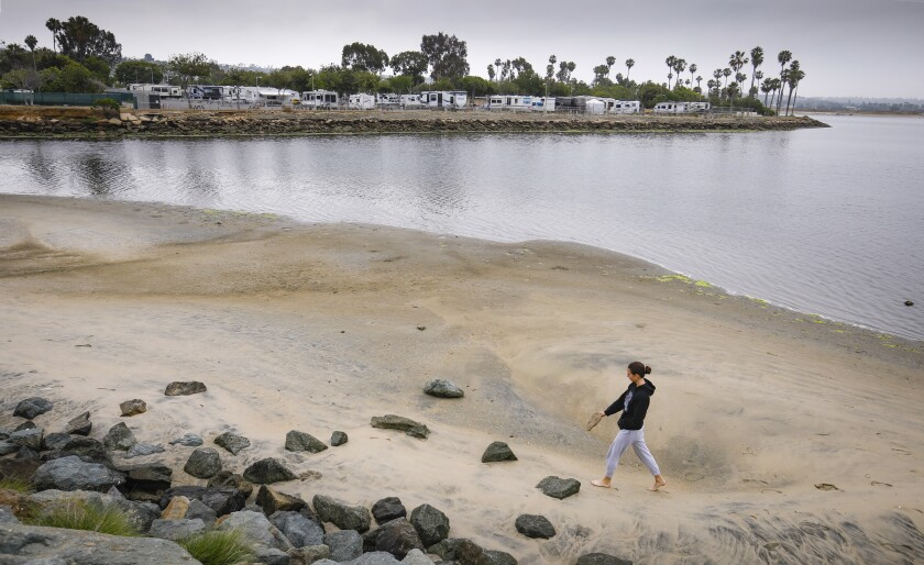 A tourist walks along the shore of Mission Bay.