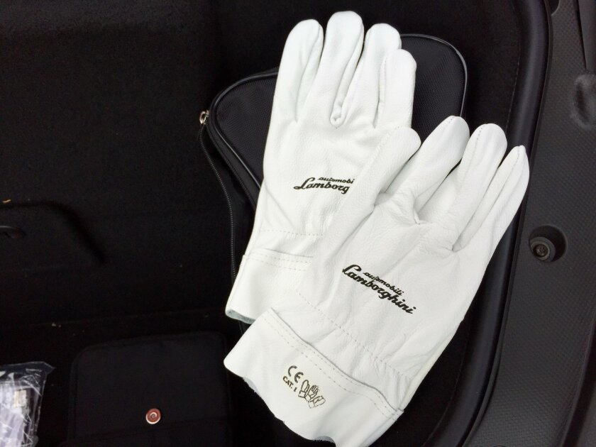 The leather Lambo-branded gloves are just in case the driver needs to use the tire inflation system to inflate a flat.