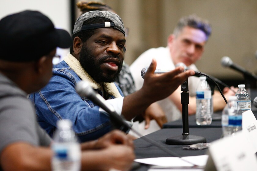 LOS ANGELES, CALIF. - APRIL 13: Greg Mack, Hanif Abdurraqib, Times writer Gerrick D. Kennedy, and Wi