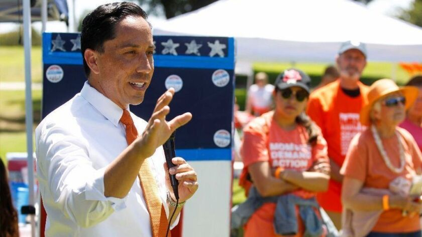 California Assembly member Todd Gloria. seen here at a June picnic event with the Wear Orange coalition, Moms Demand Action, NeverAgainCa and other gun safety advocates, has introduced legislation banning the sale of guns and ammunition at the Del Mar Fairgrounds.
