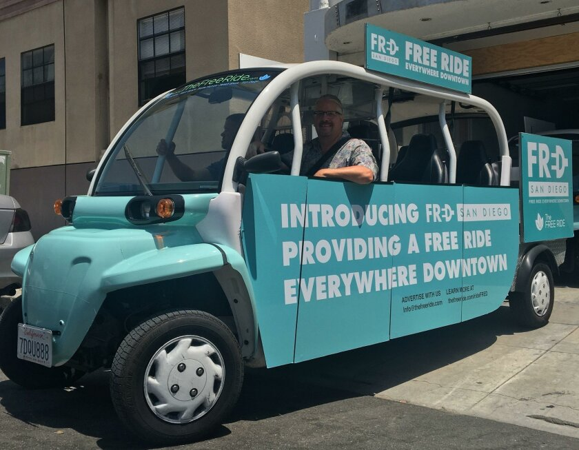 "The San Diego Free Ride's ""FRED"" shuttle service features five-passenger, all-electric vehicles."