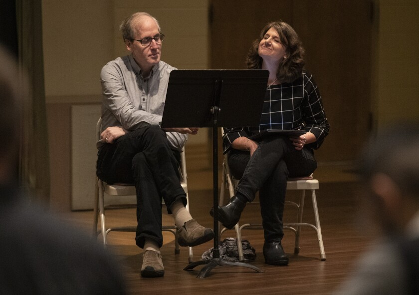 "Composer Jeff Beal and librettist Joan Beal during the Los Angeles Master Chorale rehearsal of ""Sunrise: A Song of Two Humans."""