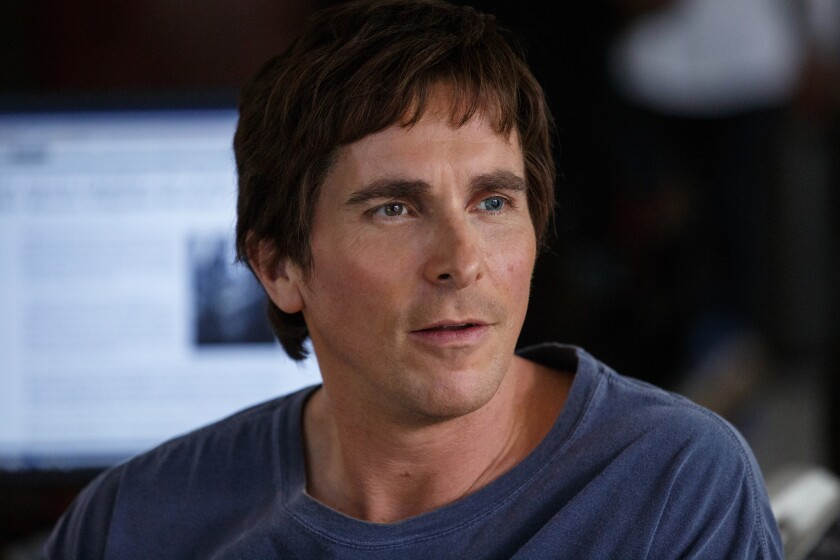 Christian Bale plays Michael Burry in the movie The Big Short from Paramount Pictures and Regency En