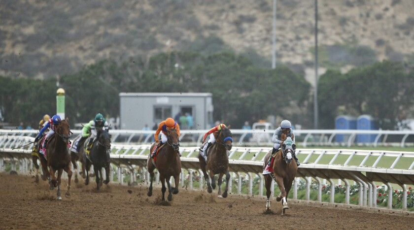 California Chrome flies down the closing stretch during the running of the Pacific Classic at Del Mar.