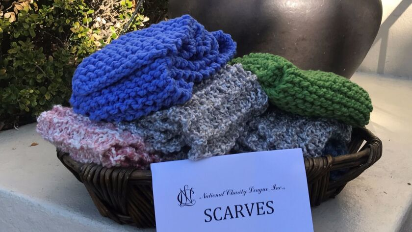 Scarves ready for distribution to homeless families last month