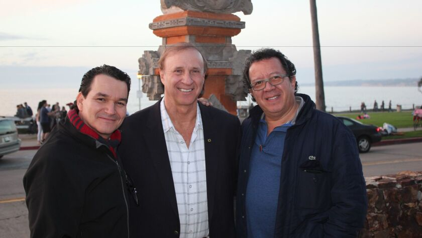 Foundation for Anthropological Research & Environmental Studies collaborators Gao Leví, director Richard Hansen and Rodolfo Castillo in front of La Jolla Cove