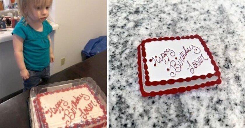 """Niña recibe pastel que lee: """"Feliz cumpleaños perdedora"""""""