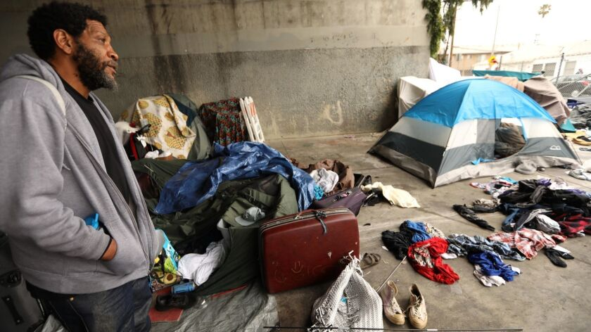 LOS ANGELES, CA - JUNE 4, 2019 - - Roscoe Bradley, 51, lives in an encampment with around 25 other