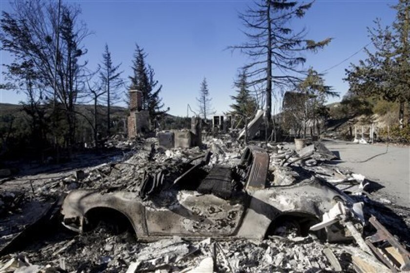 The remains of a home and a car destroyed by a wildfire are seen on Friday, Aug. 9, 2013, near Banning, Calif. Southern California firefighters are facing another day of battle as they try to corral a wildfire that has destroyed 26 homes, thus far. (AP Photo/Jae C. Hong)