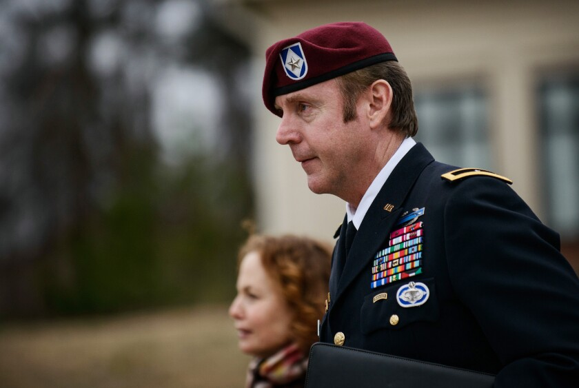 Brig. Gen. Jeffrey Sinclair, who is facing sexual assault charges, leaves the courthouse at Ft. Bragg, N.C.