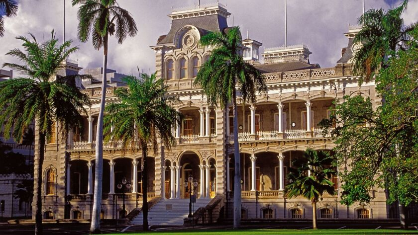 HAWAII, HONOLULU: Iolani Palace, the only royal palace in the USA. The palace is a four–story Italia