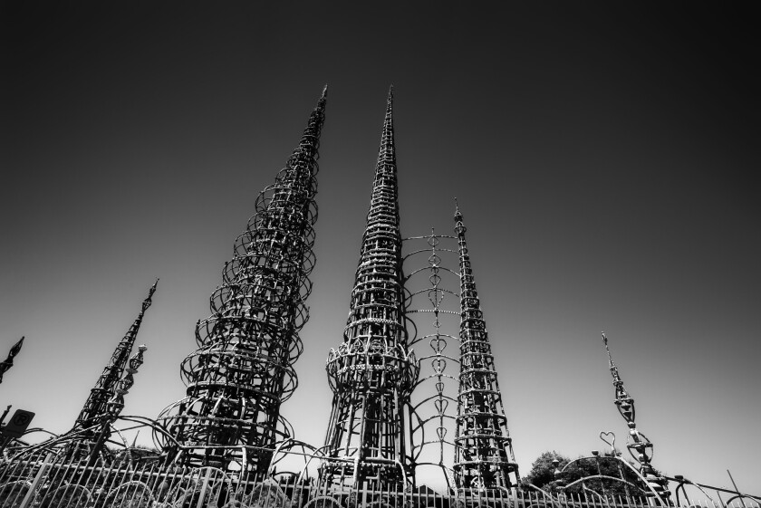 """The Watts Towers were one of three California sites named """"at-risk"""" by the Cultural Landscape Foundation in Washington, D.C. Their care is now under the stewardship of the Los Angeles County Museum of Art."""