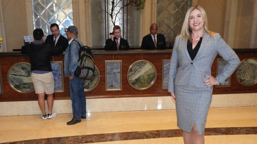 Concierge director Anna Hersel oversees a team at the Venetian.