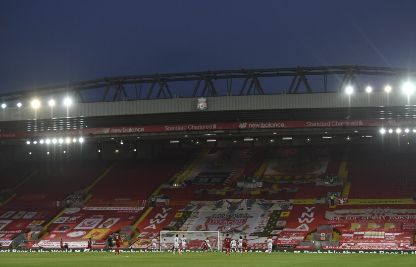The a view of the empty Kop during the English Premier League soccer match between Liverpool and Crystal Palace at Anfield Stadium in Liverpool, England, Wednesday, June 24, 2020. (Paul Ellis/Pool via AP)