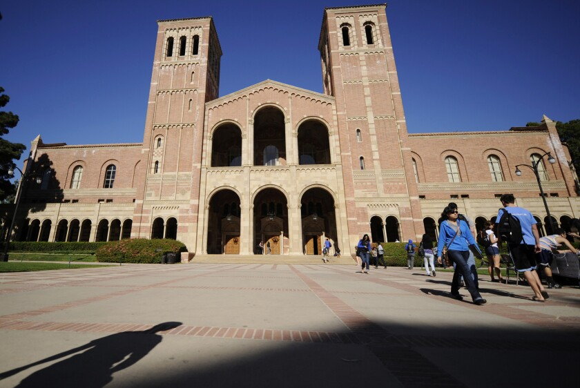 Students walk on the UCLA campus.