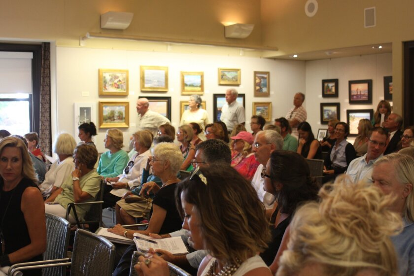 La Jollans gather at the library to discuss the issue with Parks & Beaches board Sept. 22.