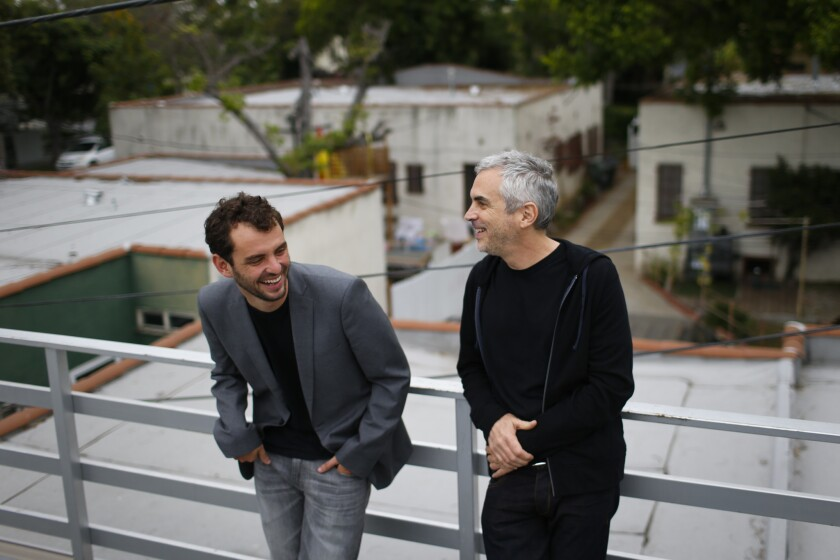 Filmmakers and sometime collaborators Jonas Cuarón and his father, Alfonso, photographed in Los Angeles on June.