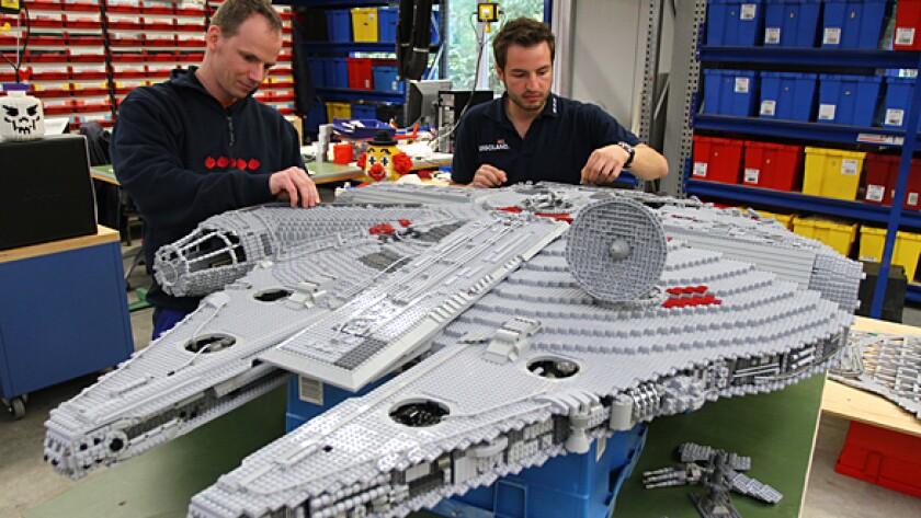 "Lego model makers build the Millennium Falcon for the new ""Star Wars"" area at Legoland California."