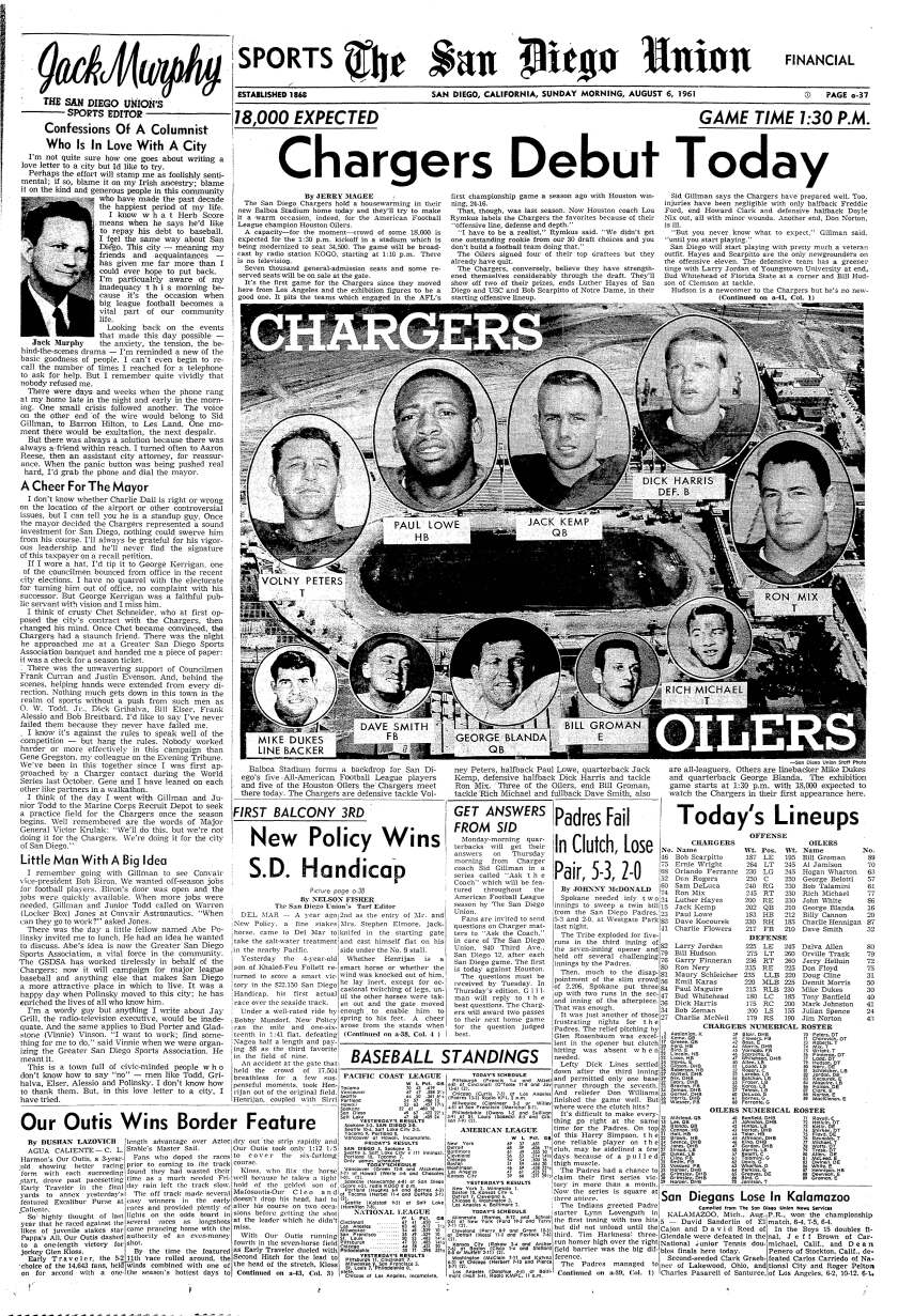 """""""Chargers Debut Today"""" report on the front page of The San Diego Union Sports section, August 6, 1961."""