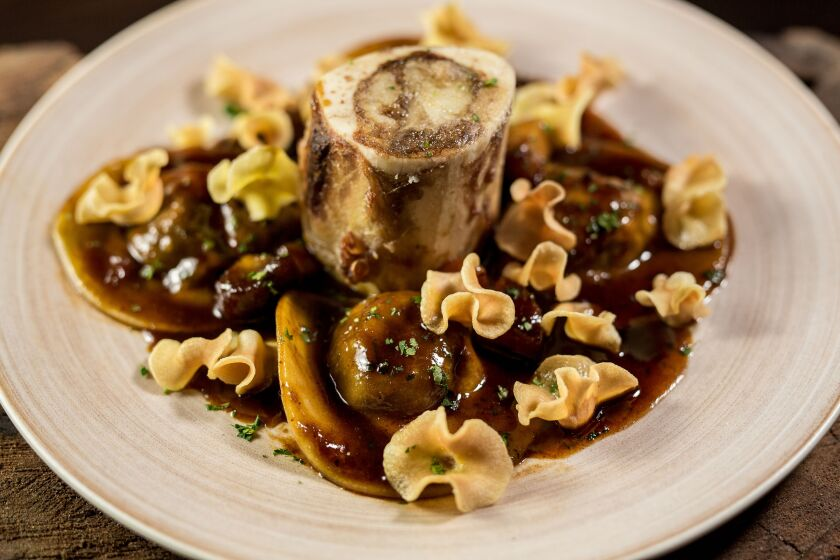 Bull and Bourbon's earthy and satisfying oxtail ravioli.