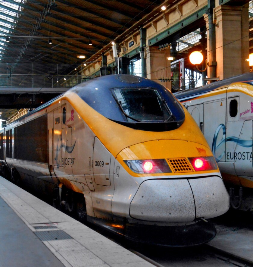 Eurostar trains travel from the heart of London to Paris in less than two and a half hours.
