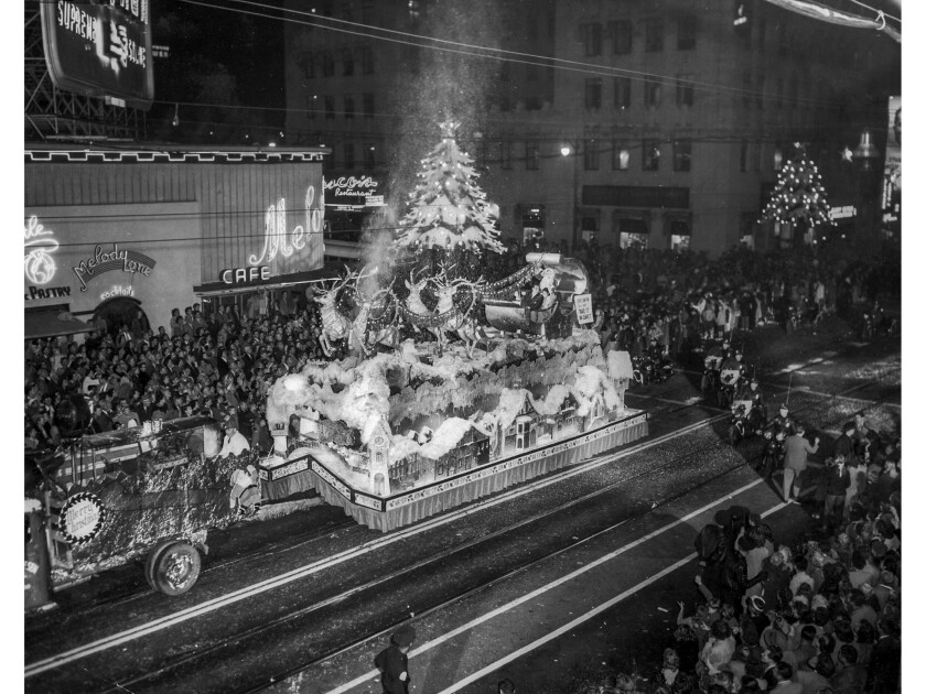 Nov. 23, 1949: The final float in Hollywood's Santa Claus Lane Parade brought old Santa himself, rid