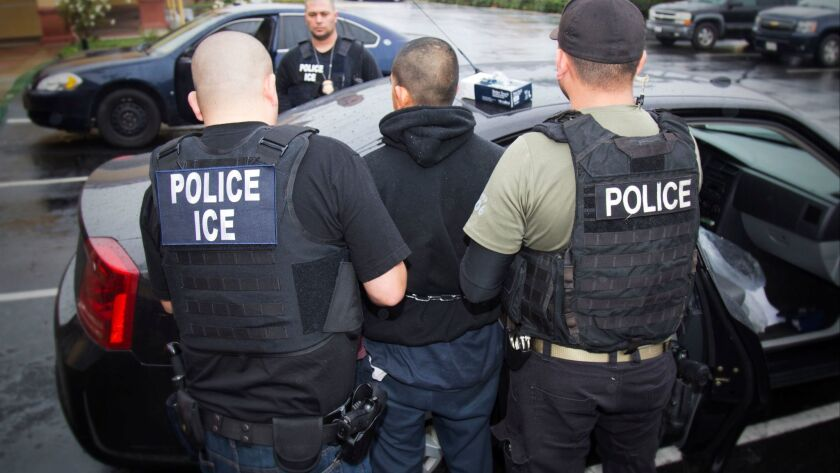 Foreign nationals are arrested during a targeted enforcement operation conducted by U.S. Immigration and Customs Enforcement aimed at immigration fugitives, re-entrants and at-large criminal aliens in Los Angeles.